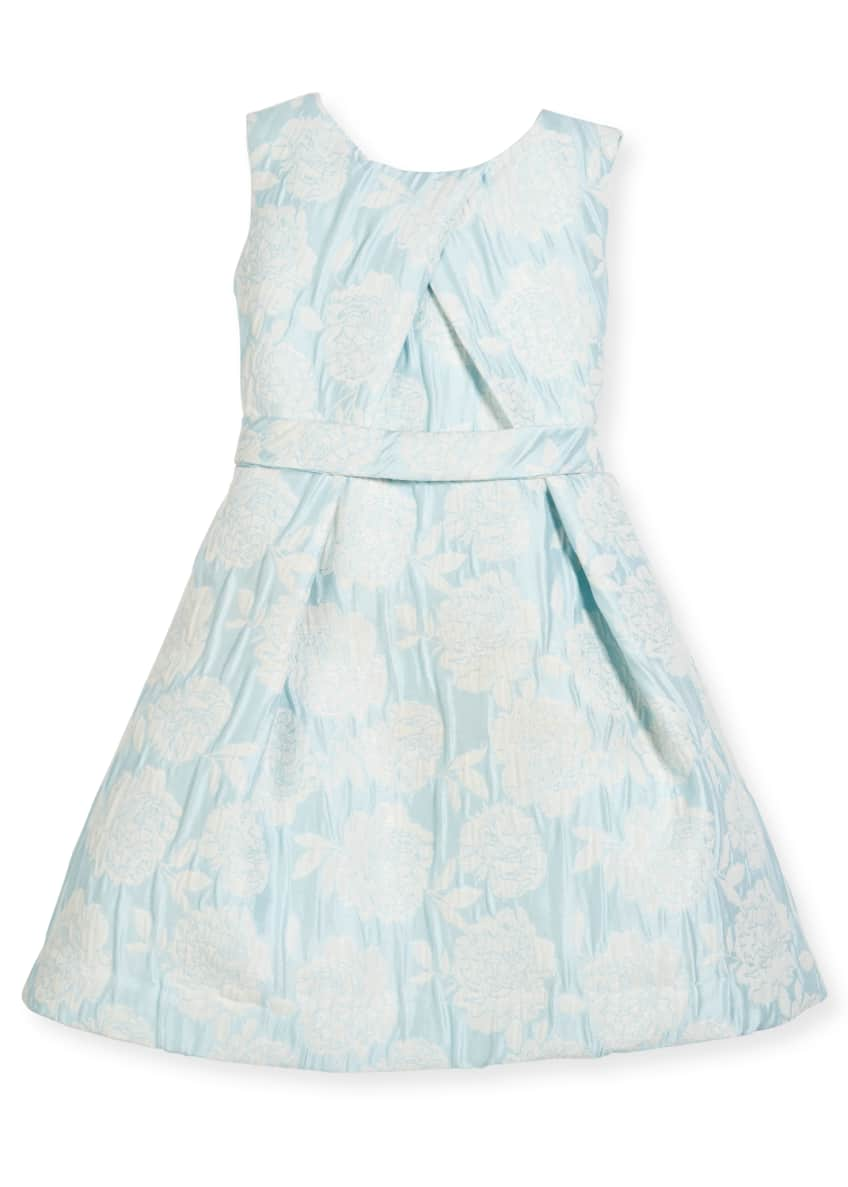 Helena Floral Jacquard Cross-Pleated Dress, Size 2-6 &