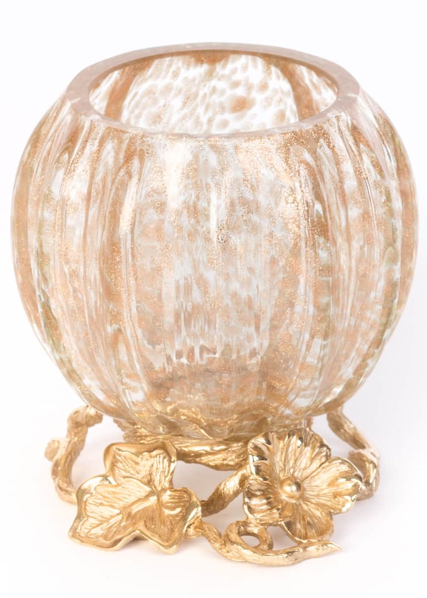 Image 1 of 1: Leaf & Flower Gilded Votive