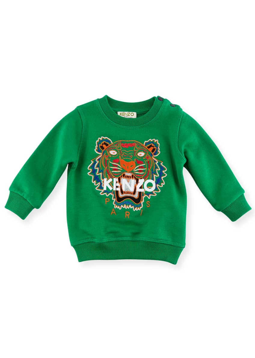 Kenzo Tiger Embroidered Sweater, Green, Size 4-6 &