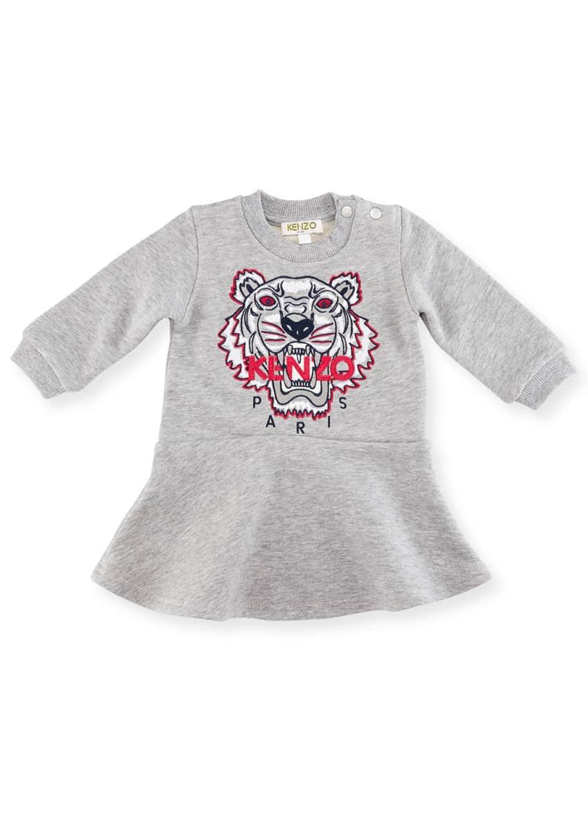 Kenzo Bubble Tiger Sweater Dress, Gray, Size 2-3