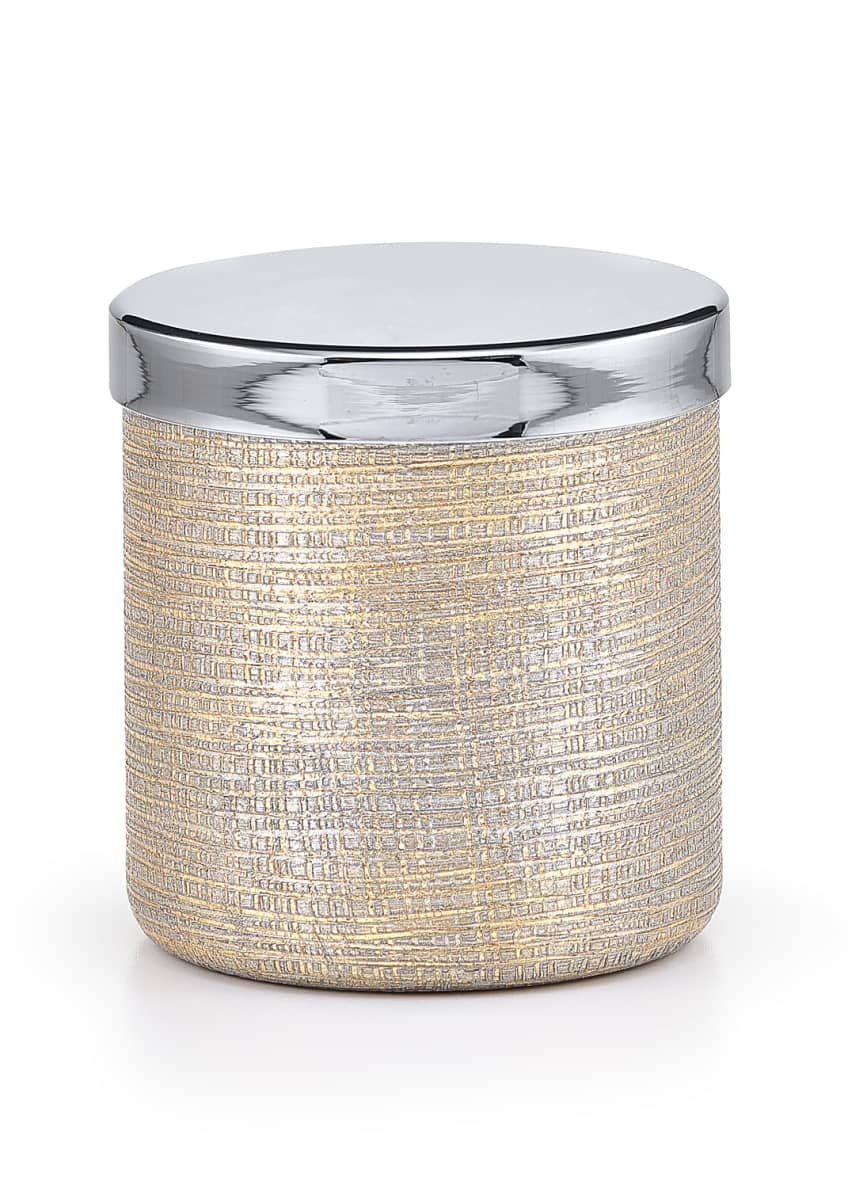 Image 1 of 1: Woven Metallic Canister with Chrome Polished Lid