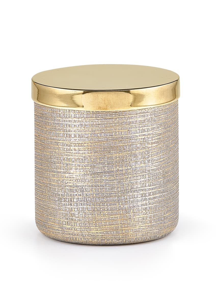 Image 1 of 1: Woven Metallic Canister with Golden Polished Lid