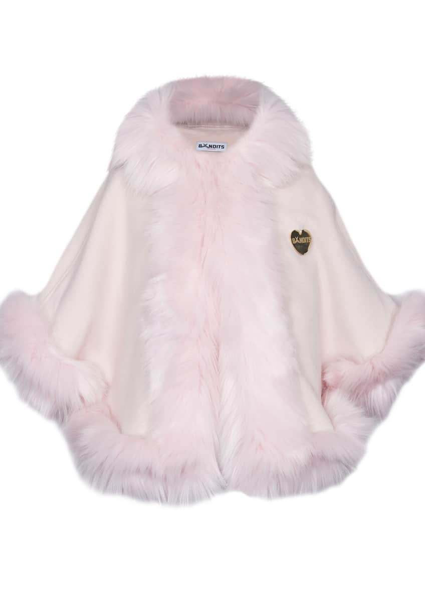 Bandits Girl Hooded Faux-Fur-Trim Felt Cape, Girls' Size