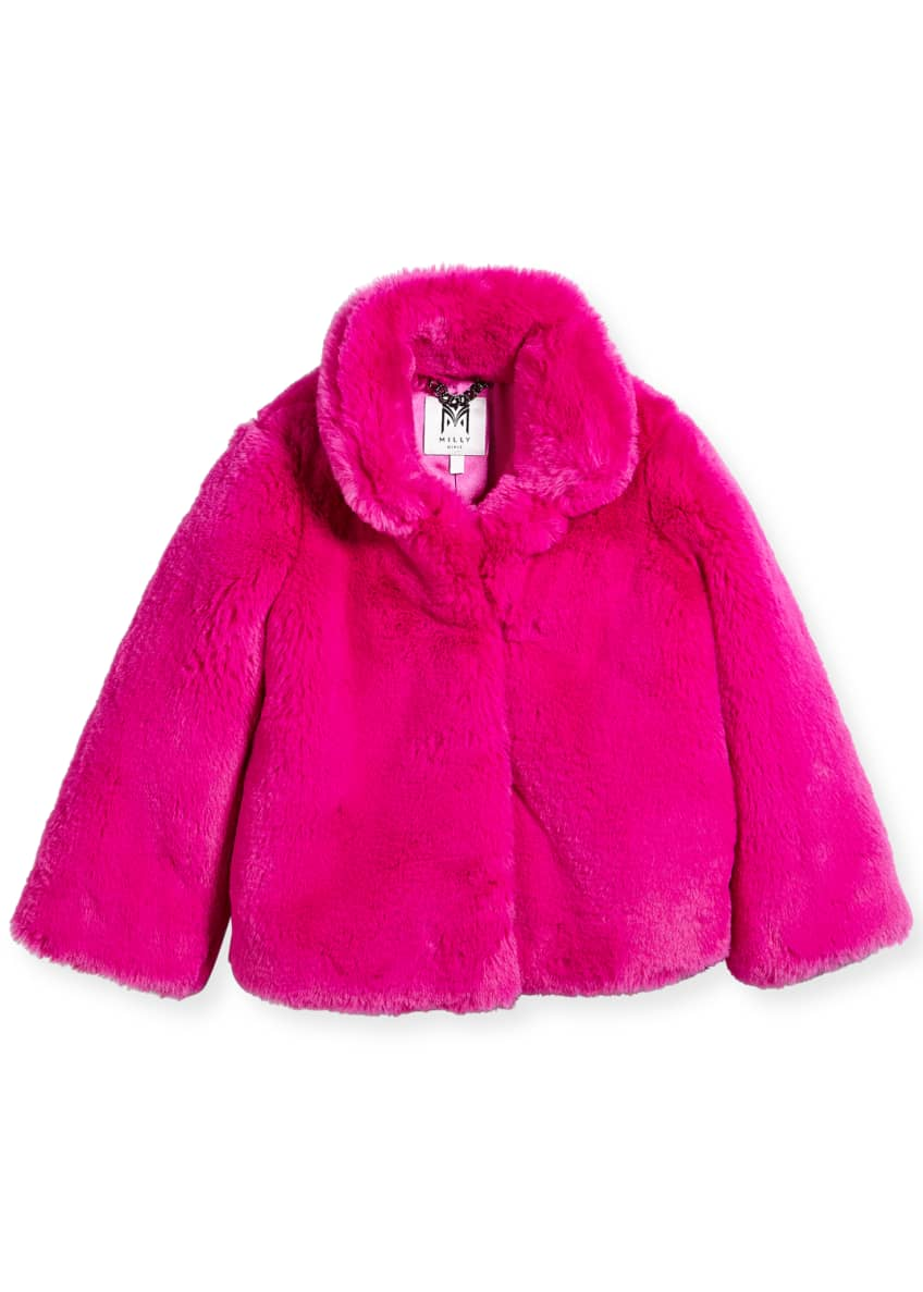Milly Minis Faux-Fur Jacket, Size 4-7 & Matching
