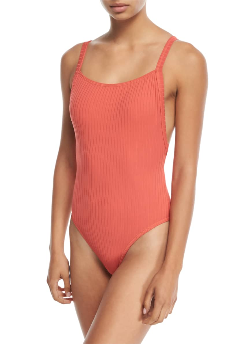 Seafolly Inka Ribbed Tank Maillot One-Piece Swimsuit &