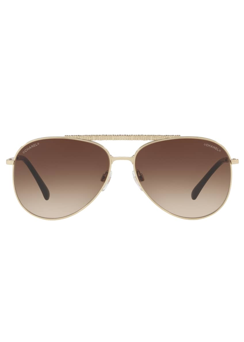 Image 2 of 2: Woven Brow Bar Gradient Aviator Sunglasses, Gold