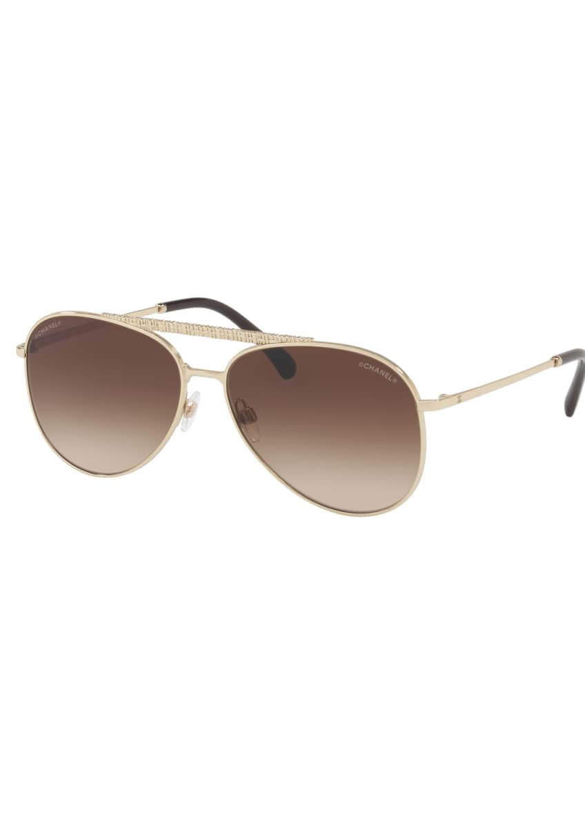 Image 1 of 2: Woven Brow Bar Gradient Aviator Sunglasses, Gold