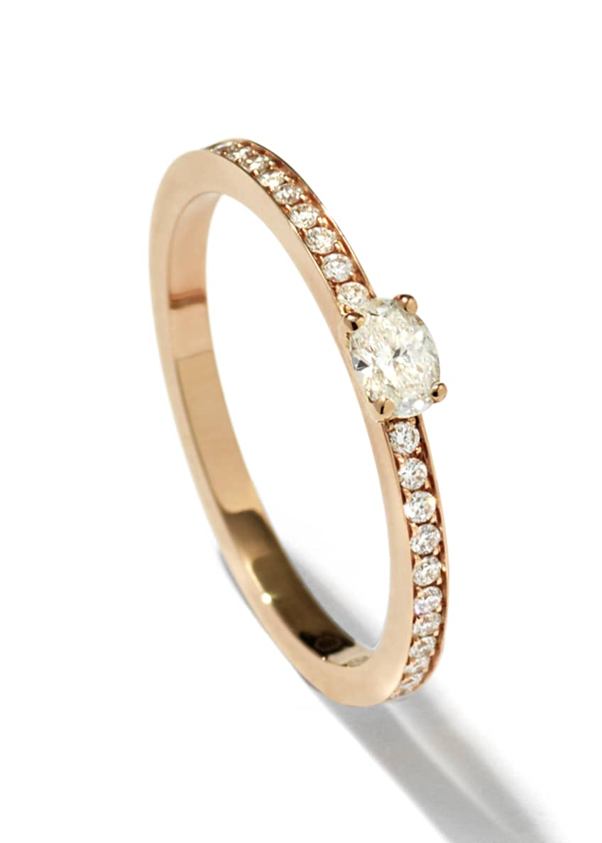 Repossi Harvest One-Row Oval-Cut Diamond Ring in 18K
