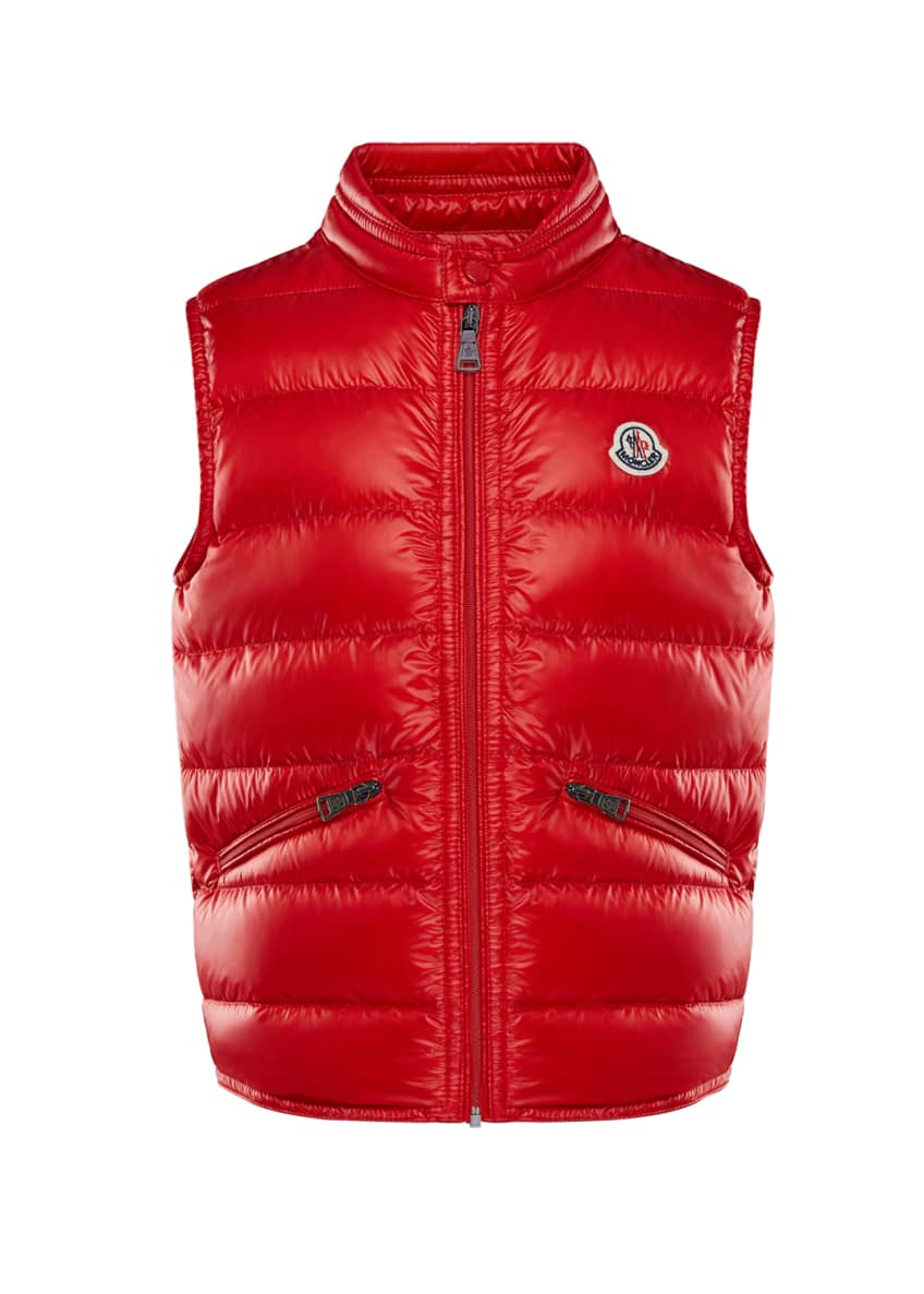 Moncler Gui Down Puffer Vest, Red, Size 4-6