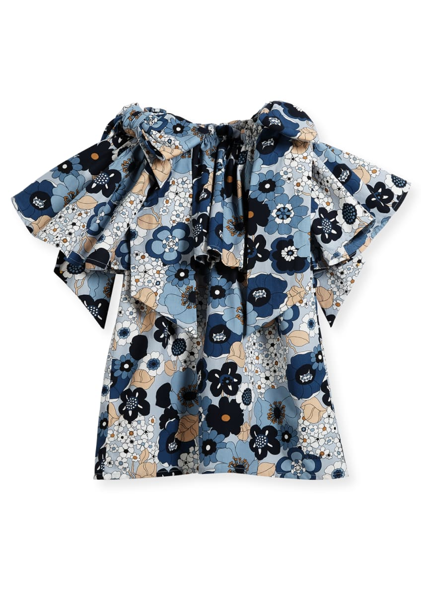 Chloe Mini Me Floral Bow-Shoulder Dress, Sizes 4-5