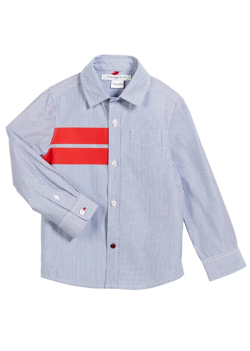 Givenchy Striped Button-Down Shirt w/ Red Details, Size