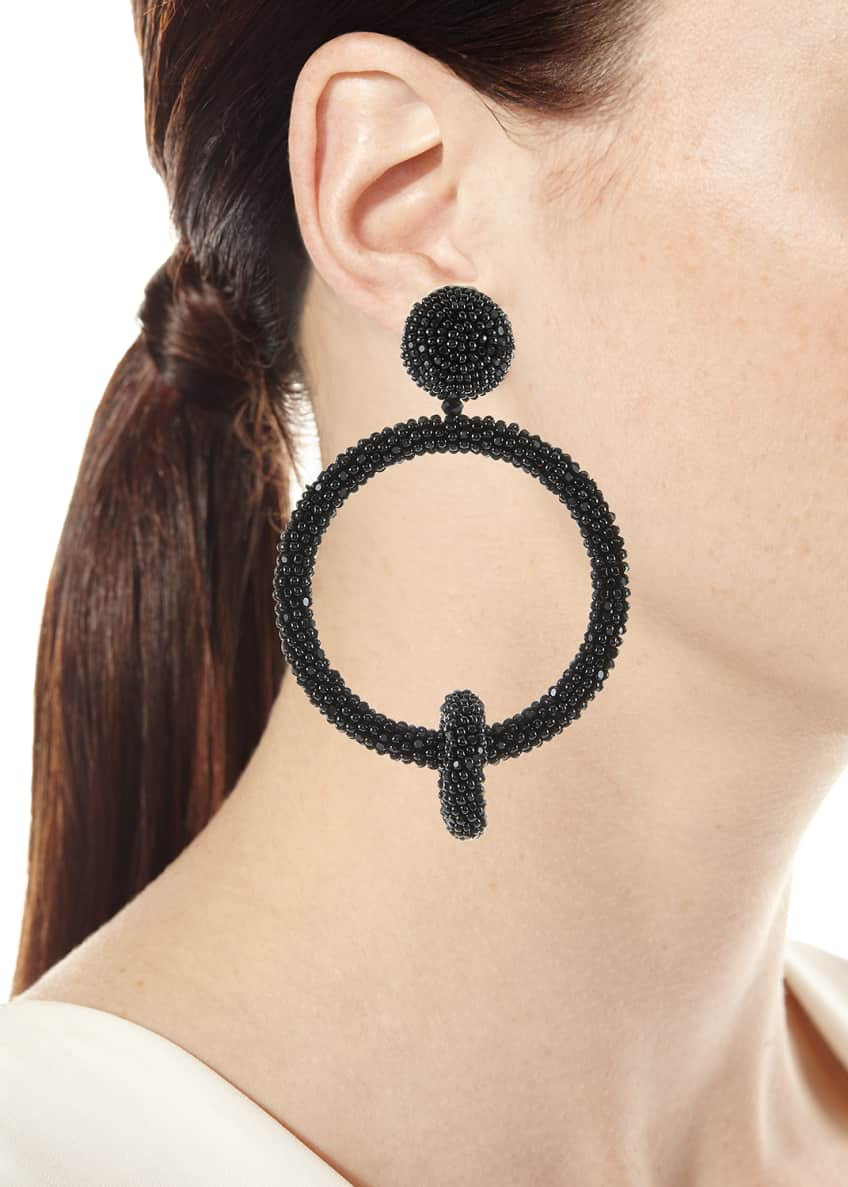 Image 2 of 2: Beaded Double-Hoop Clip-On Earrings