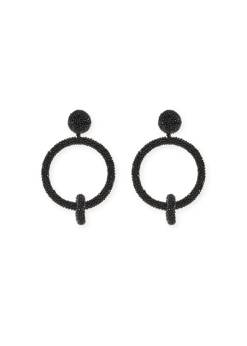 Image 1 of 2: Beaded Double-Hoop Clip-On Earrings