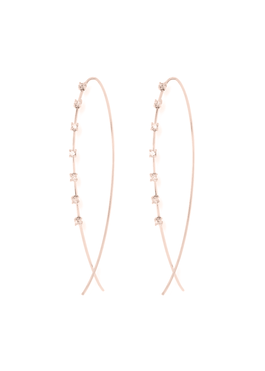 LANA Large Solo Upside Down Diamond Hoop Earrings