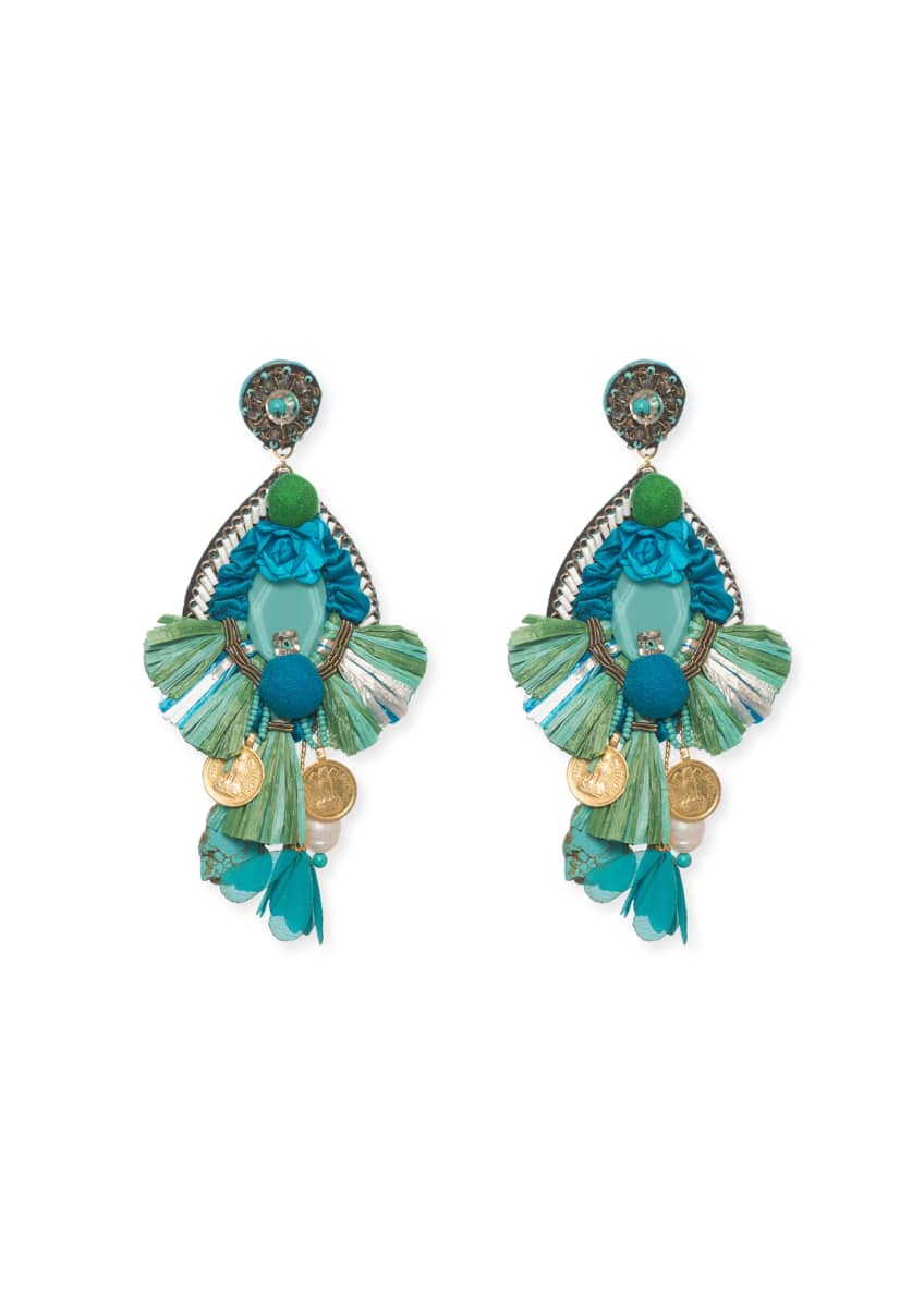 Ranjana Khan Bluejay Clip-On Statement Earrings