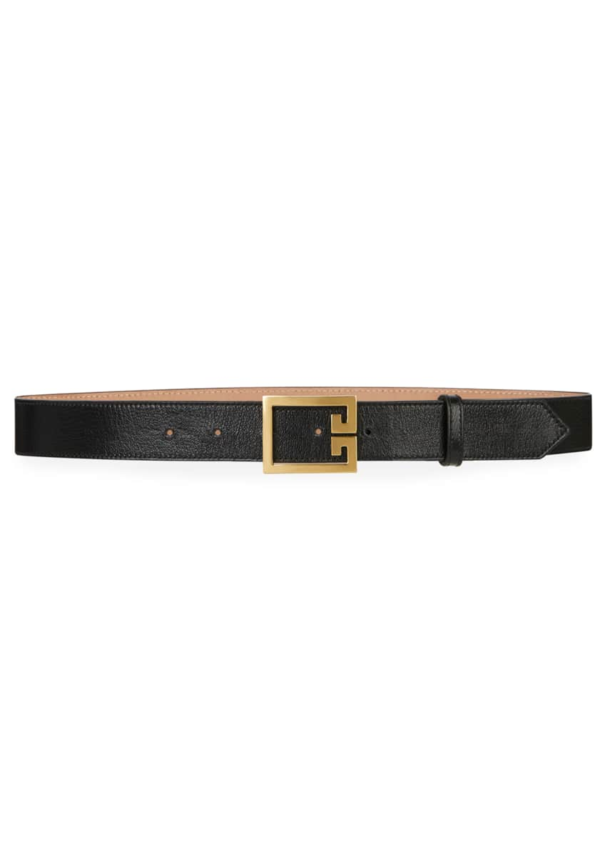 Givenchy Calfskin Leather Belt w/ Double-G Buckle &