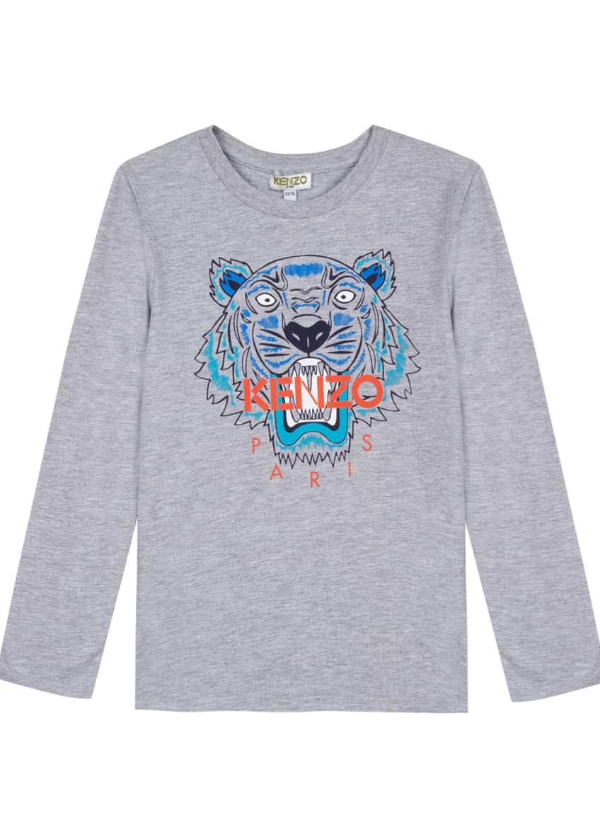Kenzo Long-Sleeve Tiger Icon Tee, Size 2-6 &