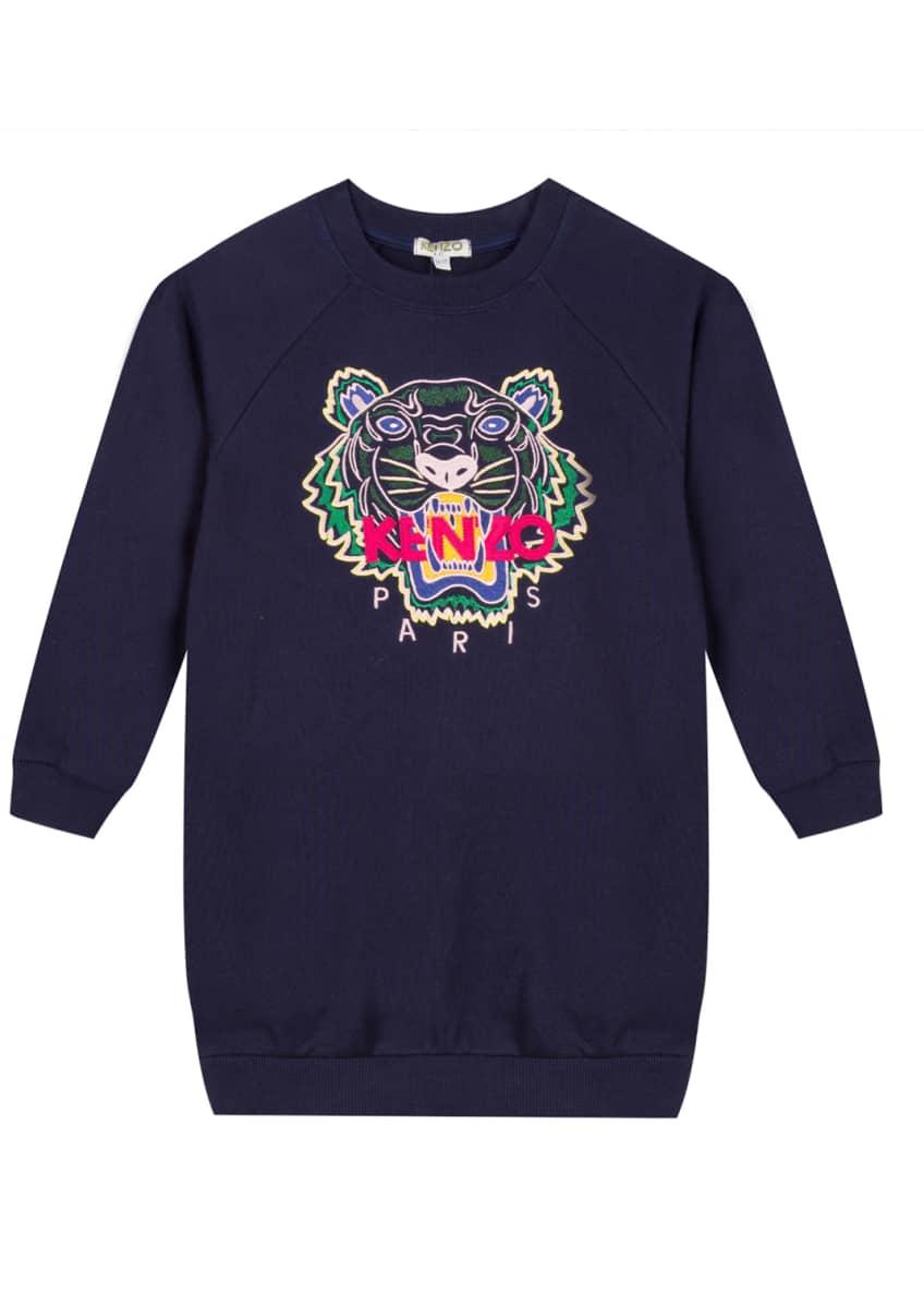 Kenzo Tiger Embroidered Sweatshirt Dress, Size 2-6 &