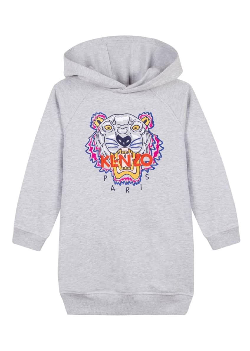 Kenzo Fleece Tiger Embroidered Hoodie Dress, Size 4-6