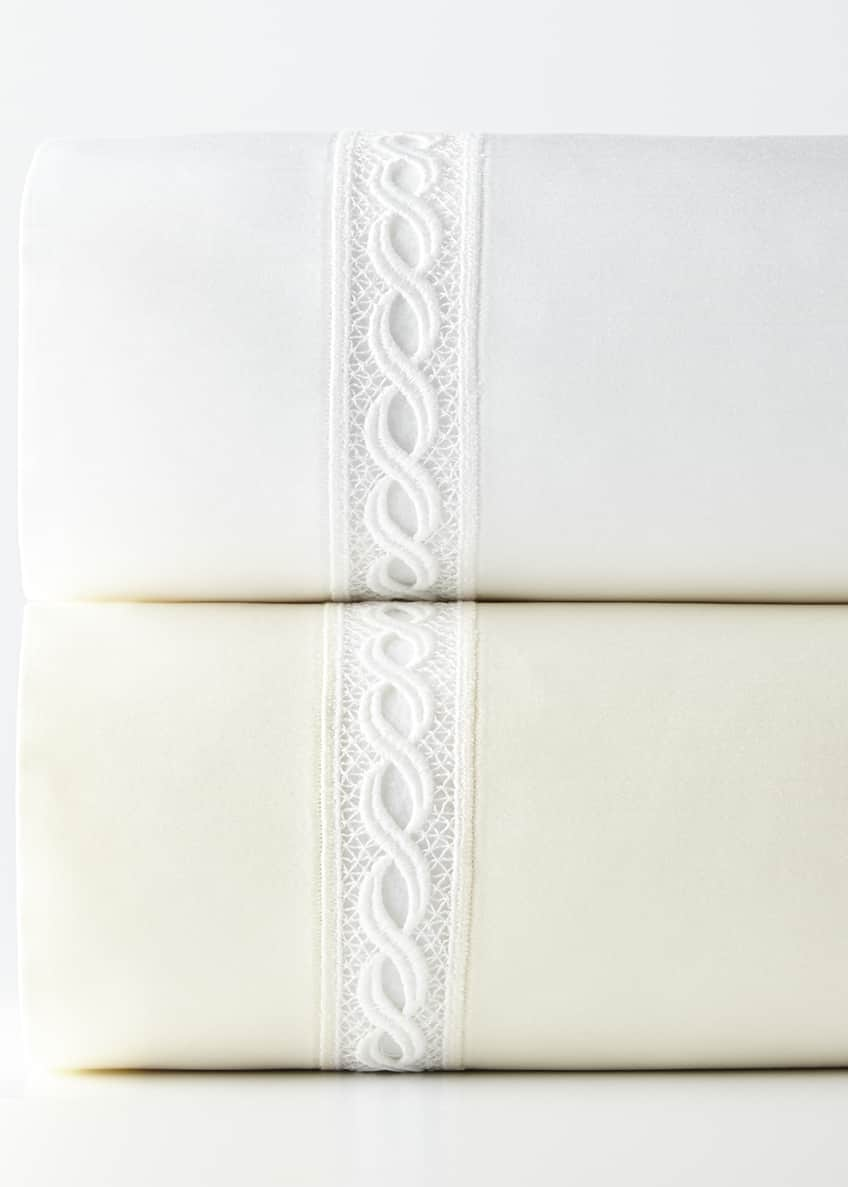 Image 1 of 2: Two Standard 1,020 Thread Count Lace Sateen Pillowcases
