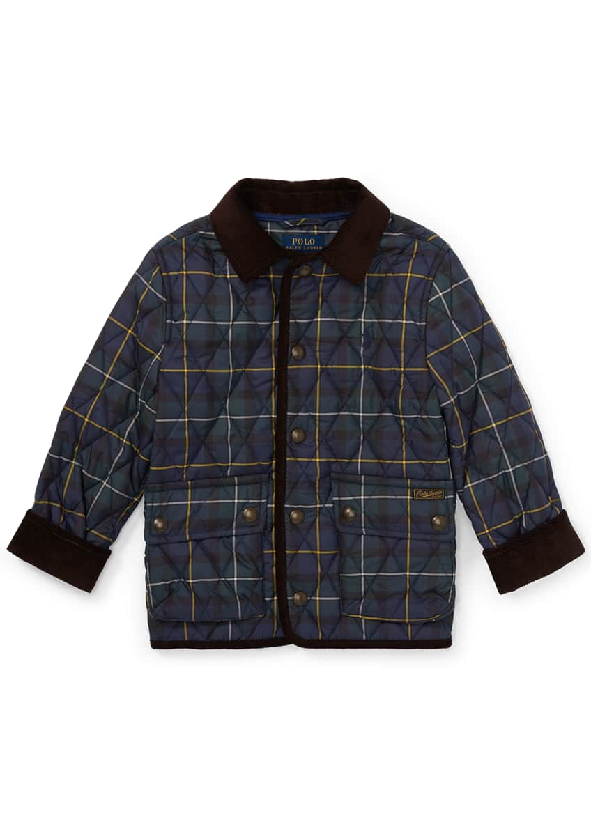 Ralph Lauren Childrenswear Kempton Quilted Plaid Jacket, Size