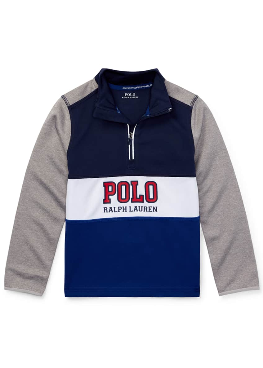Ralph Lauren Childrenswear Colorblock Logo Half-Zip Knit Top,