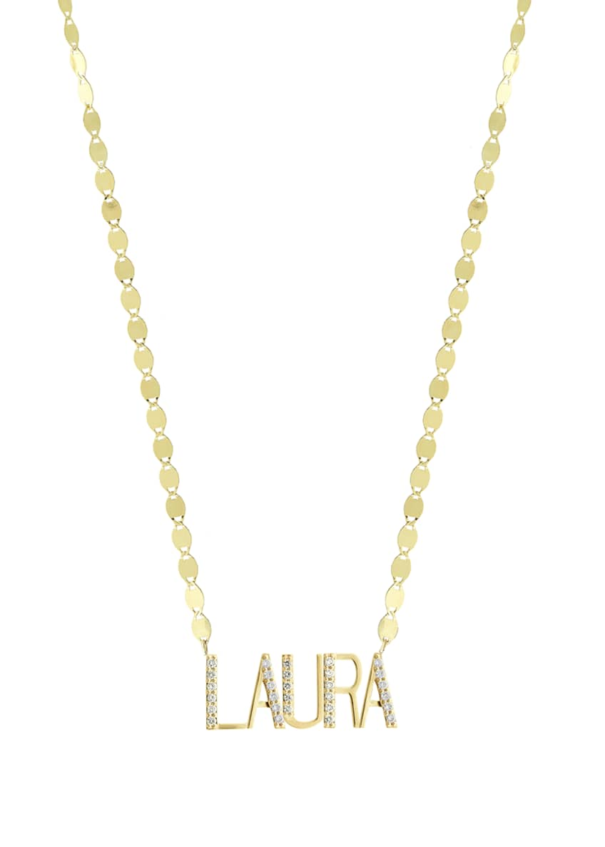 Image 1 of 2: Gold Personalized Five-Letter Pendant Necklace w/ Diamonds