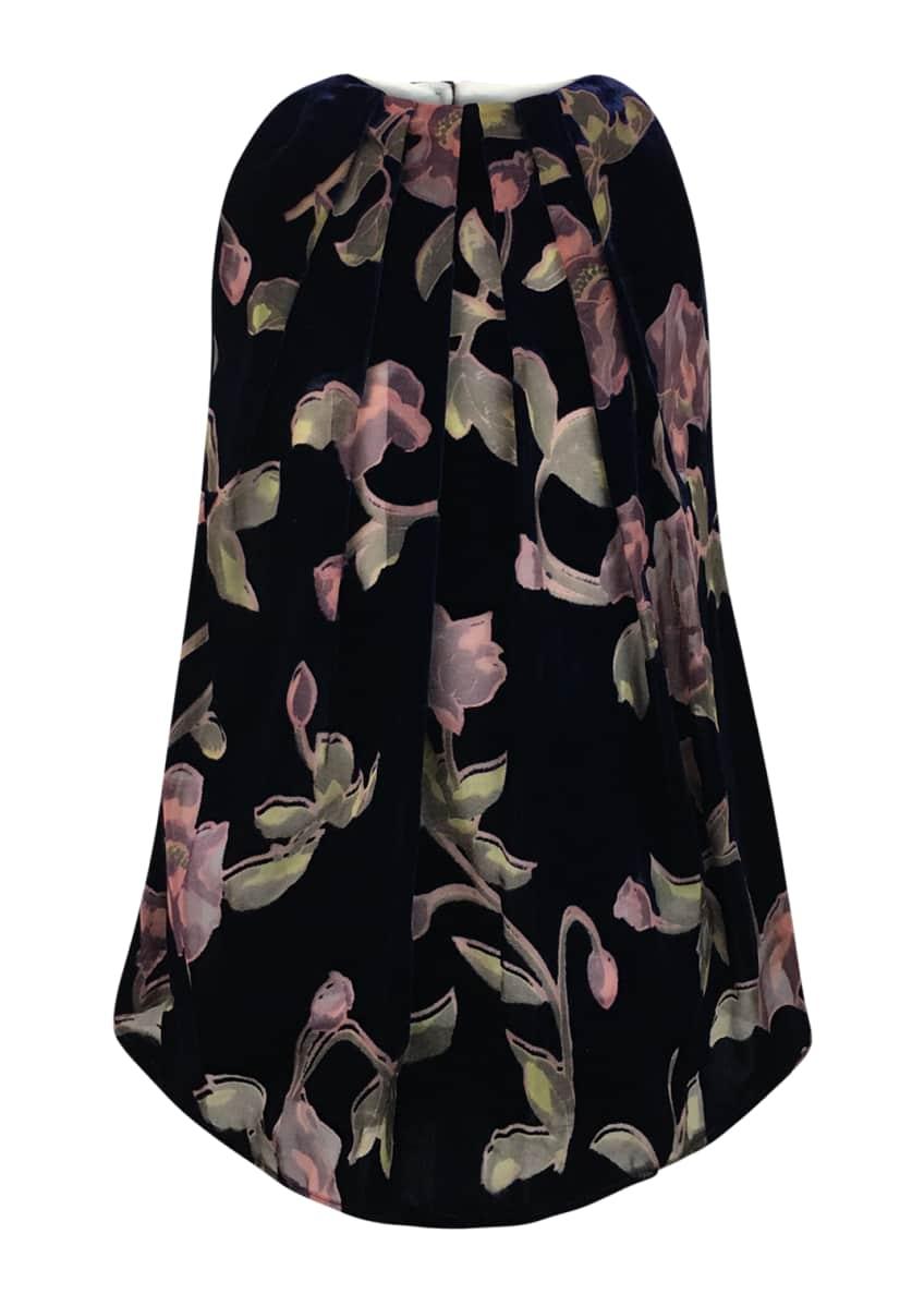 Helena Velvet Burnout Floral Dress, Size 4-6 &