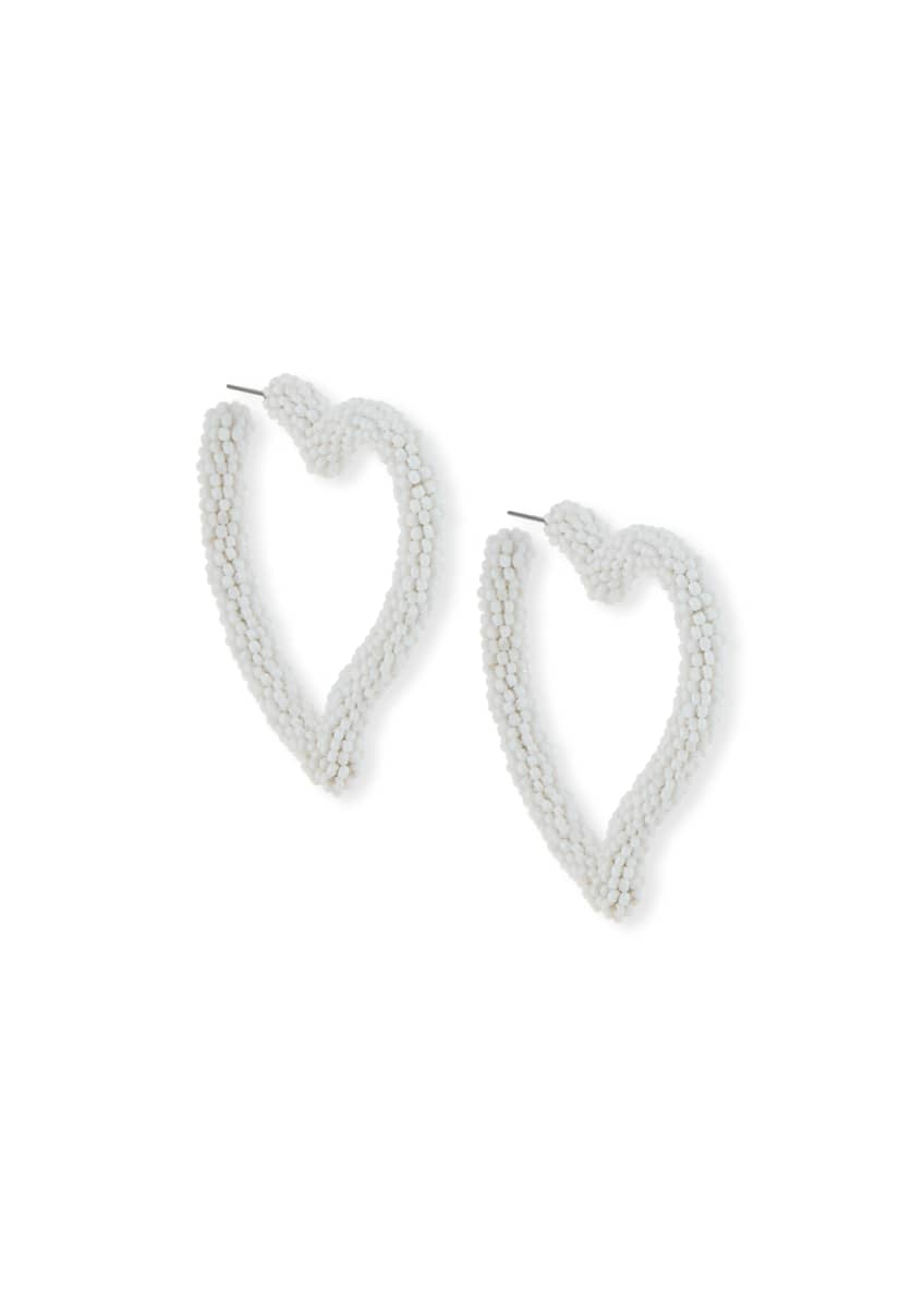 Sachin & Babi Seed Bead Heart Hoop Earrings,