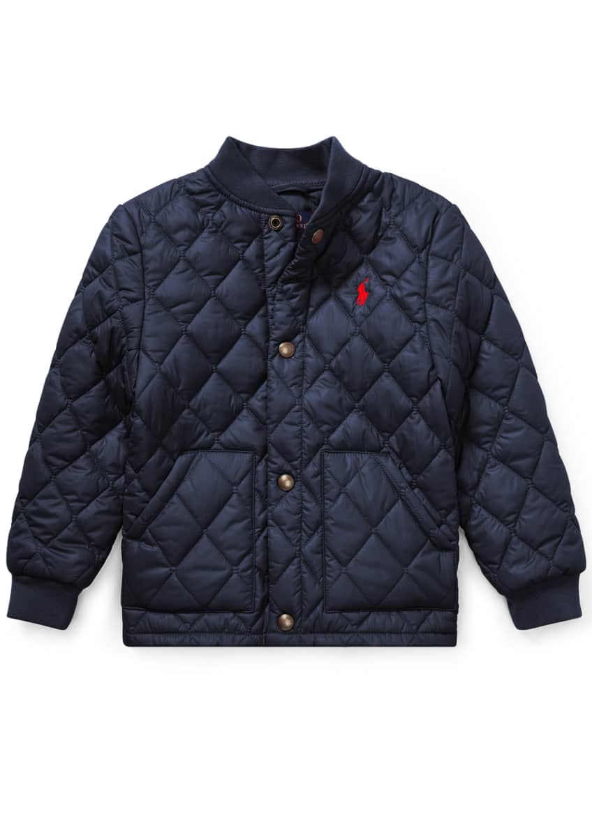 Ralph Lauren Childrenswear Quilted Baseball-Collar Jacket, Size