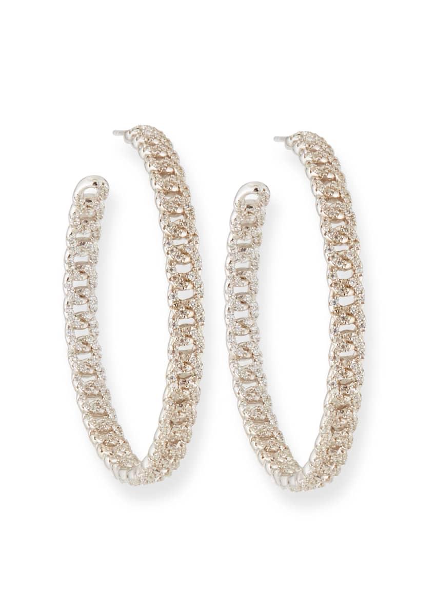 Fallon Pave Curb Chain Hoop Earrings