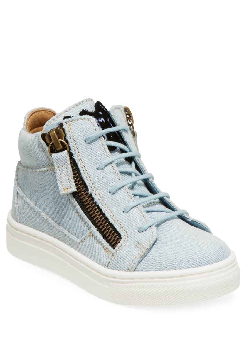 Giuseppe Zanotti Denim Mid-Top Sneakers, Toddler & Matching
