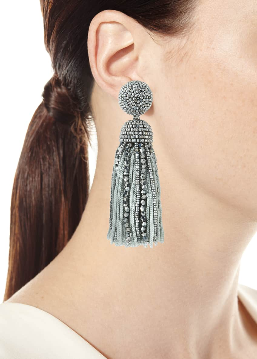 Image 2 of 2: Short Bead & Silk Tassel Clip-On Earrings