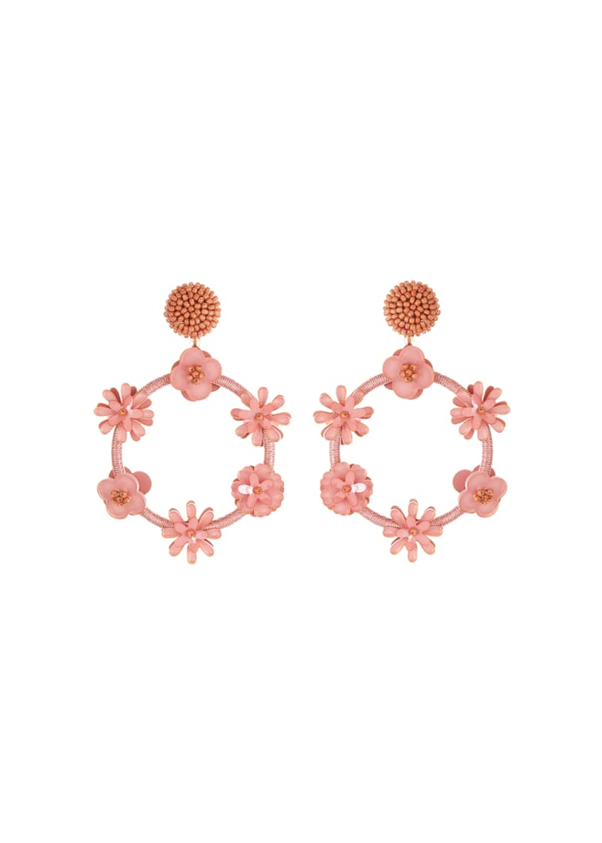 Image 1 of 1: Flower Hoop Drop Earrings
