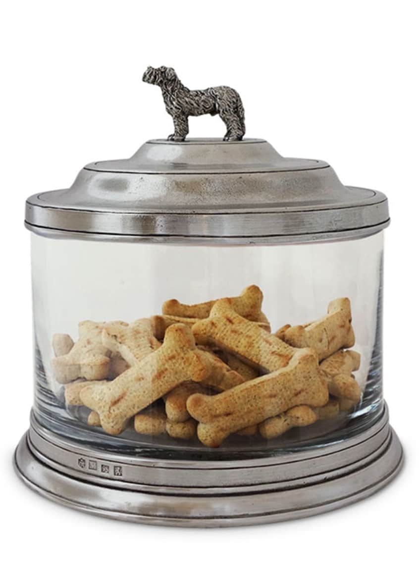 Image 1 of 2: Glass Cookie Jar with Dog Finial