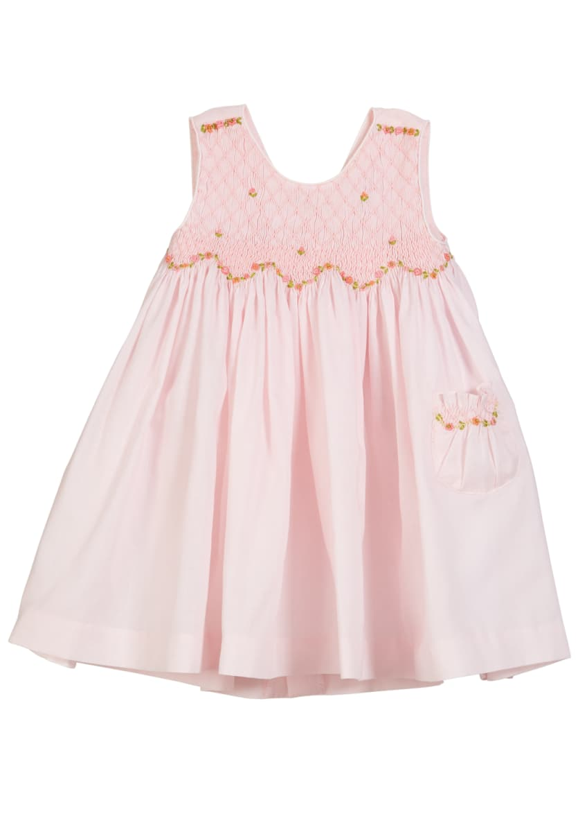 Luli & Me Smocked Floral Embroidered Dress, Size
