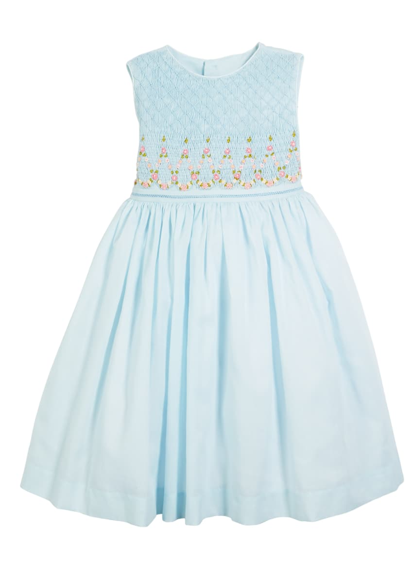 Luli & Me Smocked Sleeveless Bow-Back Dress, Size