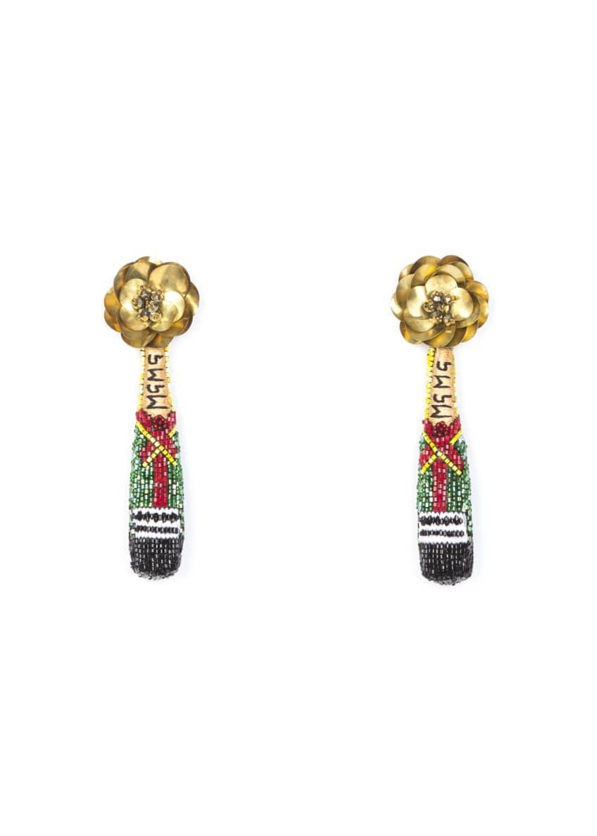Mignonne Gavigan Champagne Beaded Drop Earrings