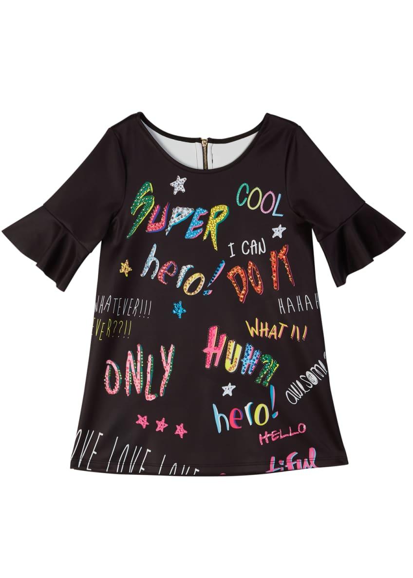 Hannah Banana Bell-Sleeve Graffiti-Print Scuba Dress, Size 4-6