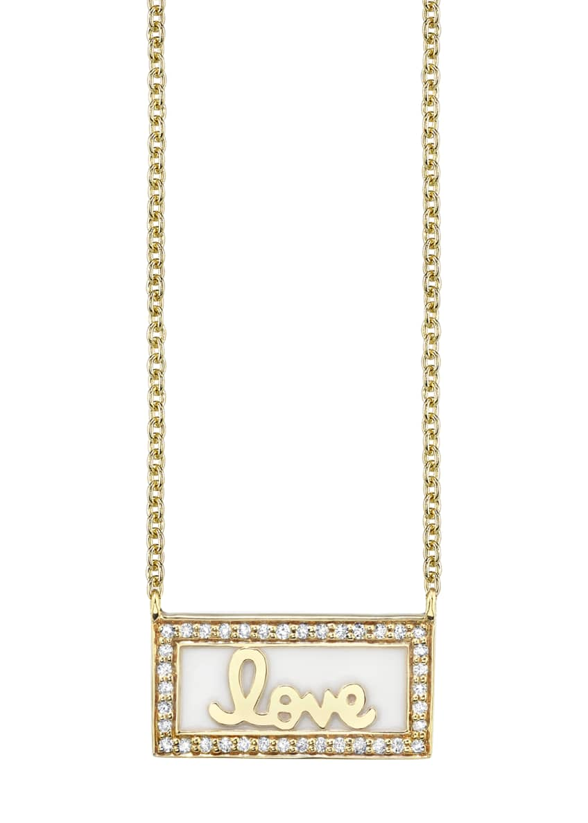 Sydney Evan 14k Gold Love Bar Necklace w/