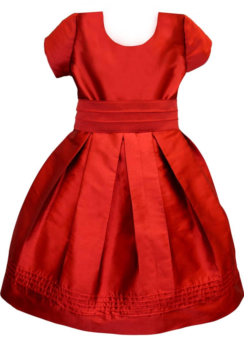 Isabel Garreton Pintucked Taffeta Dress, Size 2-3 &