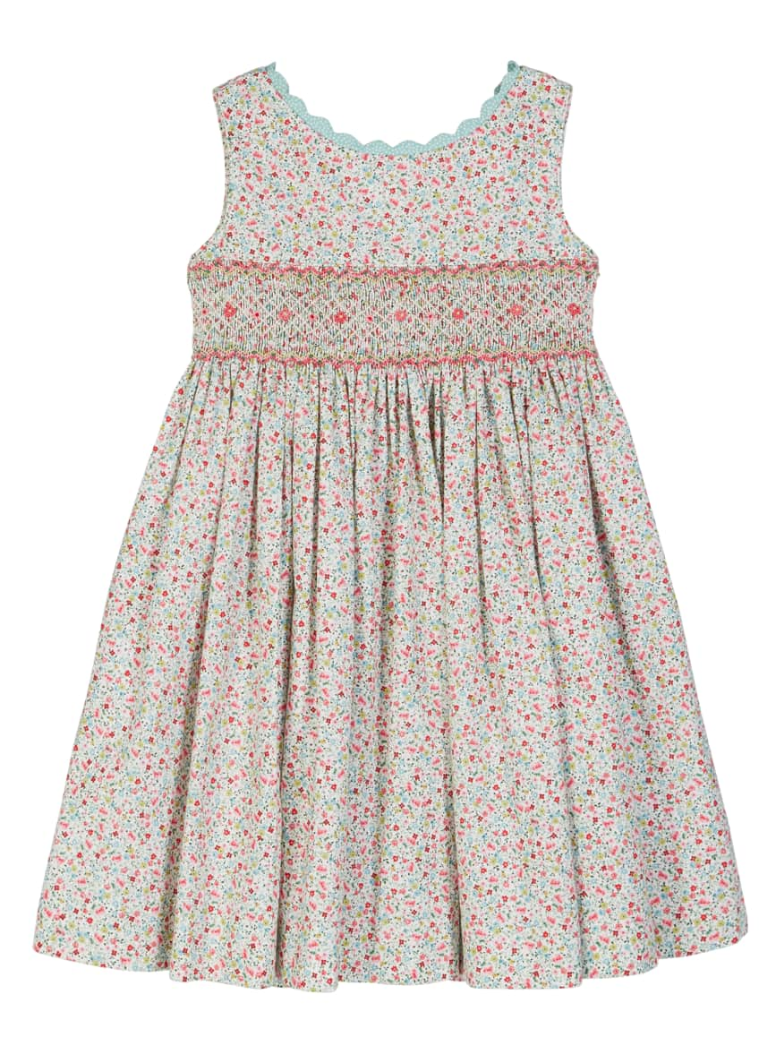 Luli & Me Floral Scalloped-Trim Smocked Dress, Size