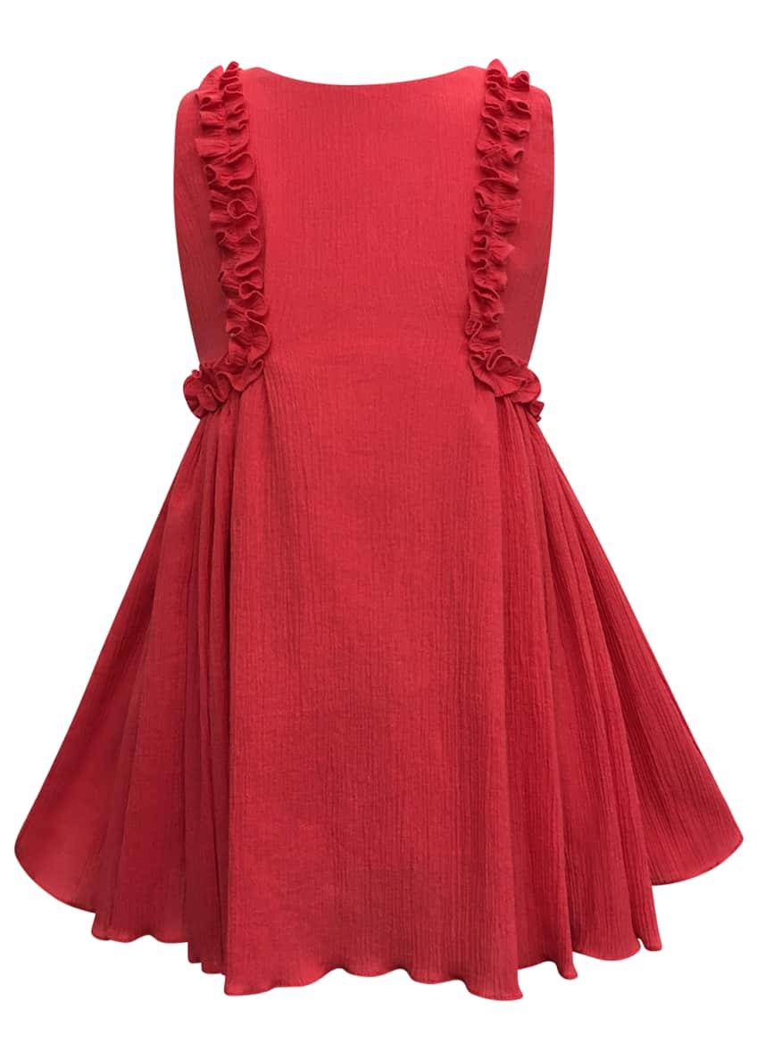 Helena Crinkled Ruffle-Trim Dress, Size 4-6 & Matching