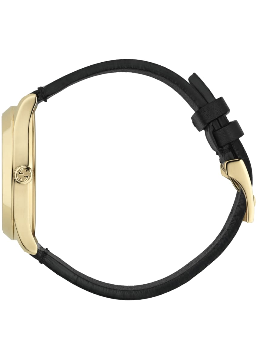 Image 3 of 4: 38mm G-Timeless Hologram Watch w/ Leather Strap, White/Gold