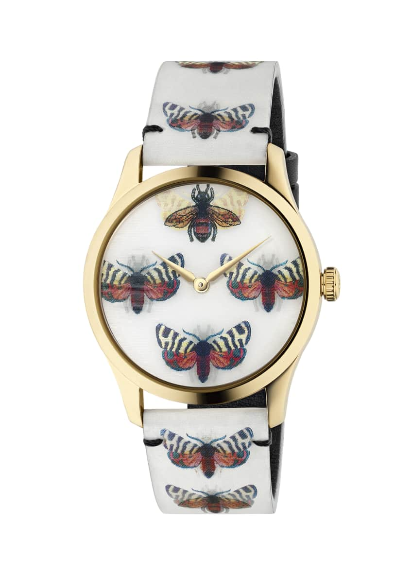 Image 4 of 4: 38mm G-Timeless Hologram Watch w/ Leather Strap, White/Gold