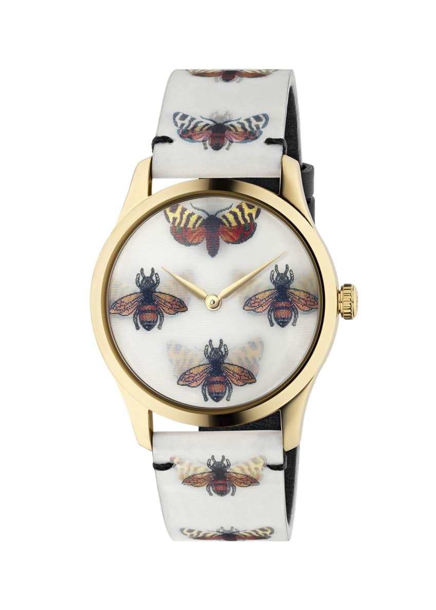 Gucci 38mm G-Timeless Hologram Watch w/ Leather Strap,