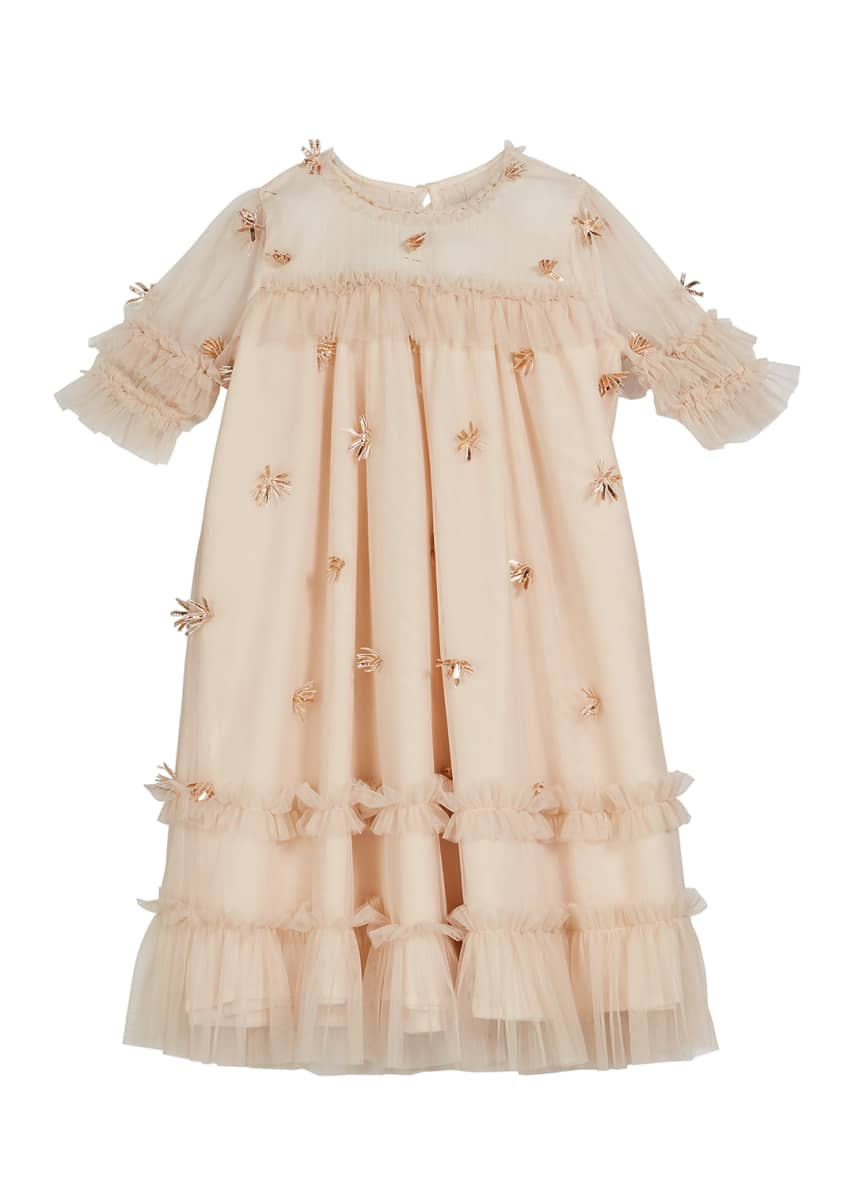 Velveteen Laylani Smocked Ruffle Party Dress, Size 3-6