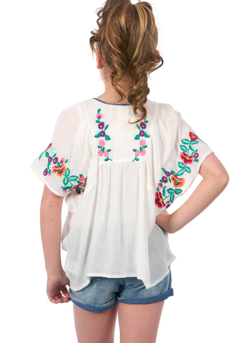 Image 4 of 4: Woven Floral Embroidered Top, Size 7-14