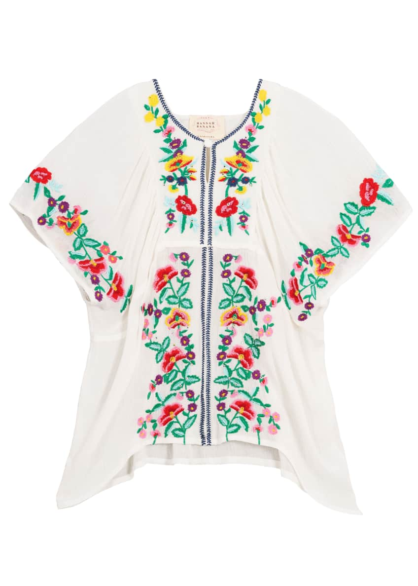 Woven Floral Embroidered Top, Size 7-14