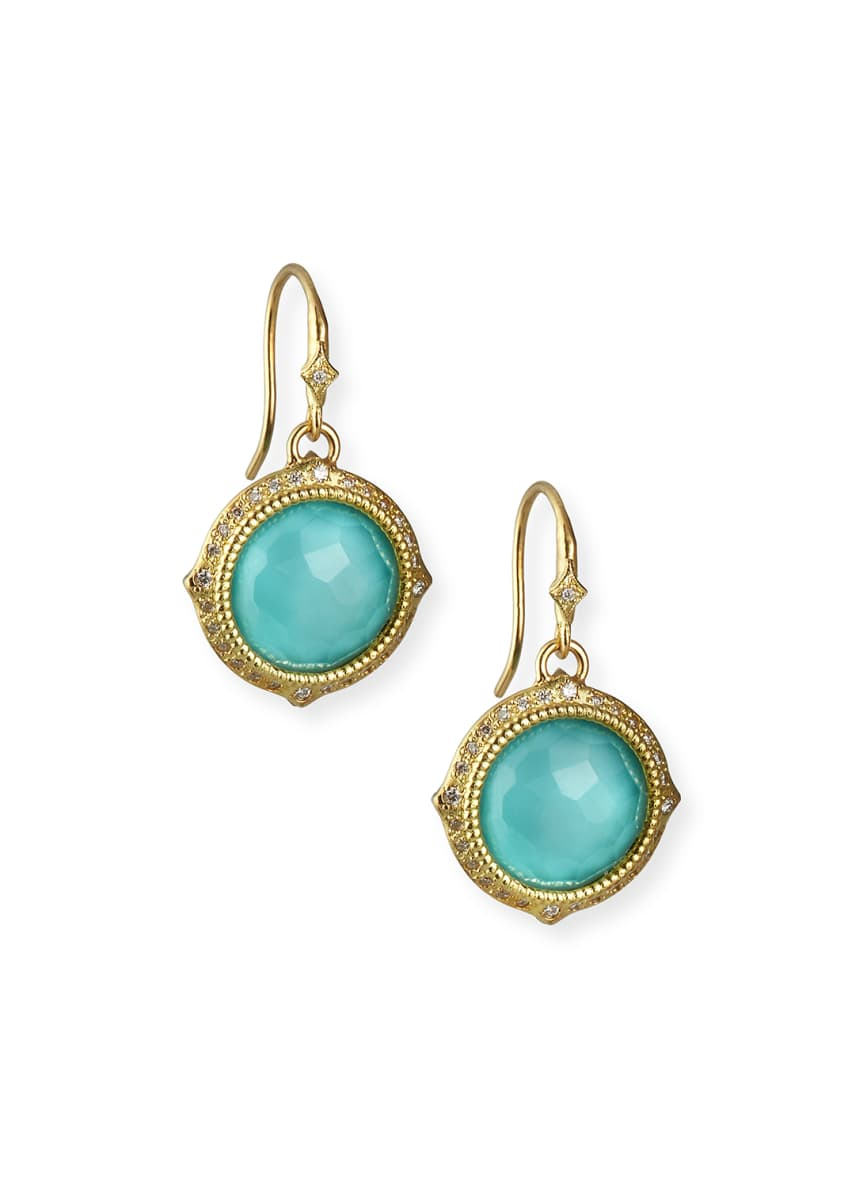Armenta Old World Turquoise/Quartz Drop Earrings w/ Diamonds